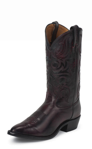 Tony Lama Mens Black Cherry Antique Regal Calf Leather Western Boots
