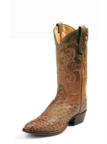 Tony Lama Mens Antique Tan Vintage Fq Ostrich Goat Top Western Boots
