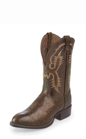 Tony Lama Mens Chocolate Shrunken Shoulder Leather Stockman Western Boots