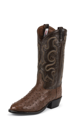 Tony Lama Mens Coffee Ostrich Goat Leather 13in Western Boots