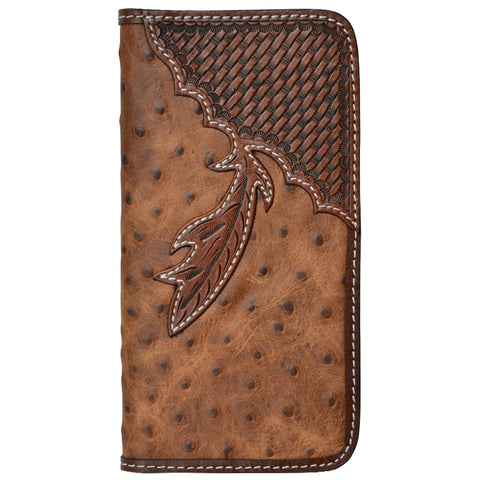 Tony Lama Brown Ostrich Print Leather iPhone 6+ Case Basketweave