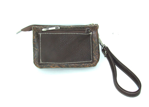 Savana Wristlet Tan Faux Leather Event Bag