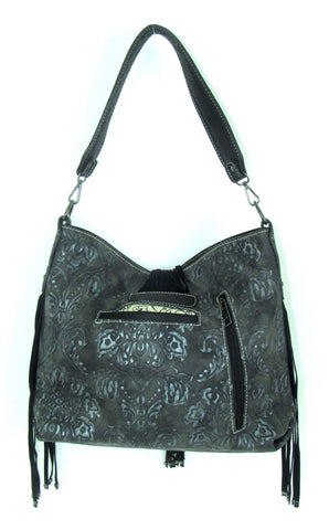 Savana Tooled Pewter Faux Leather 3 Handles Handbag