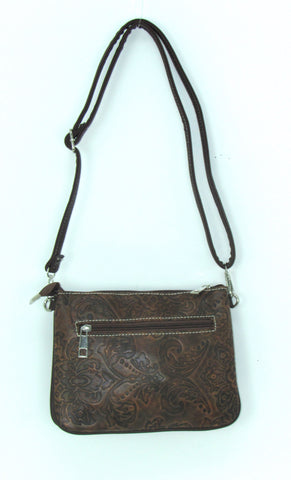 Savana Tooled Tan Faux Leather Patchwork Crossbody Bag