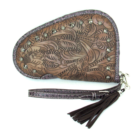 Savana Brown Faux Leather Ladies Brown Clutch Studs Tooled