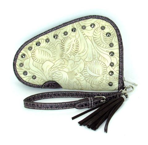 Savana Bone Faux Leather Ladies Bone Clutch Studs Tooled