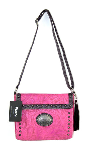 Savana Hot Pink Faux Leather Ladies Hot Pink Crossbody Conceal Carry