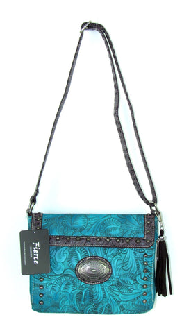 Savana Turquoise Faux Leather Ladies Turquoise Crossbody Conceal Carry