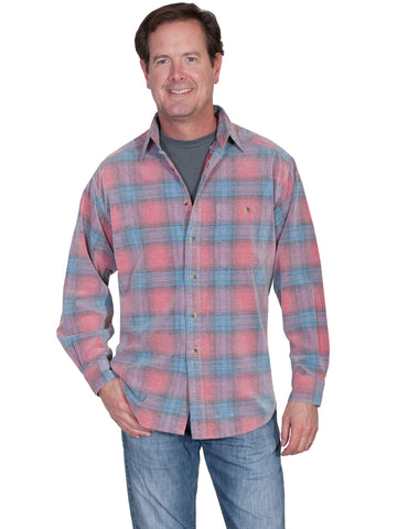 Scully Mens Red/Blue 100% Cotton Cord Plaid L/S Shirt