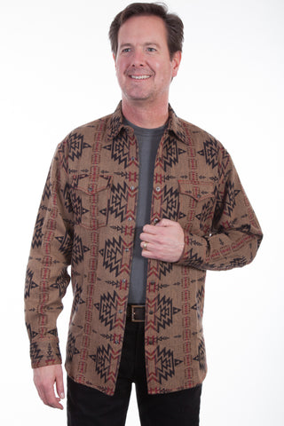 Scully Mens Tan 100% Cotton Aztec L/S Shirt