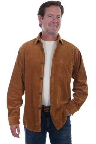 Scully Mens Saddle 100% Cotton Wide Wale L/S Shirt