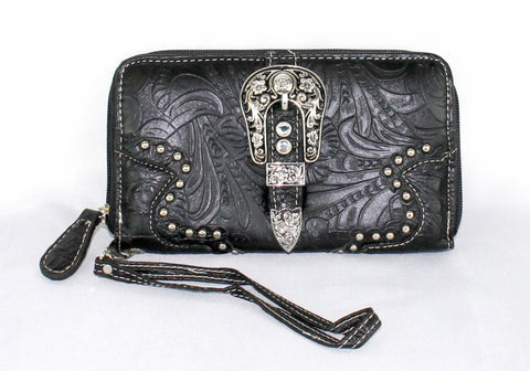 Savana Black Faux Leather Ladies Black Wallet Floral Tooled Buckle