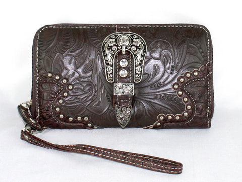 Savana Brown Faux Leather Ladies Brown Wallet Floral Tooled Buckle