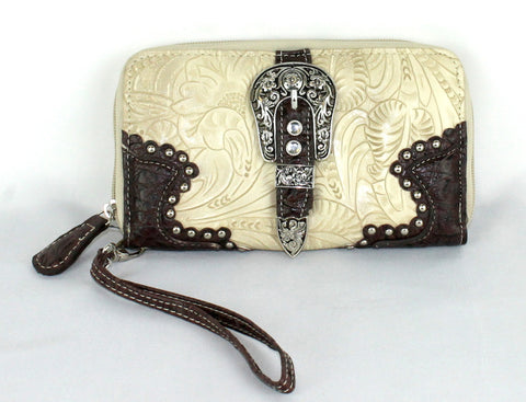 Savana Bone Faux Leather Ladies Bone Wallet Floral Tooled Buckle