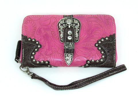Savana Hot Pink Faux Leather Ladies Hot Pink Wallet Floral Tooled Buckle
