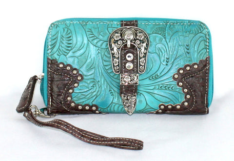 Savana Turquoise Faux Leather Ladies Turquoise Wallet Floral Tooled Buckle