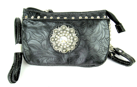 Savana Black Faux Leather Ladies Black Clutch Medallion Tooled