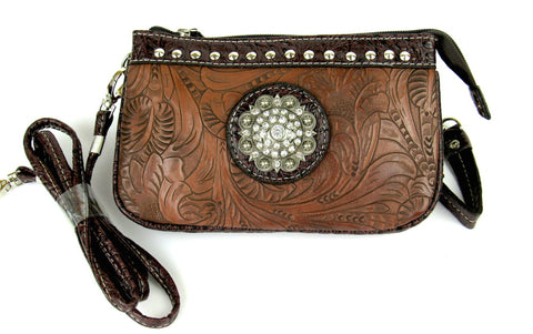 Savana Brown Faux Leather Ladies Brown Clutch Medallion Tooled