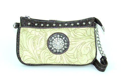 Savana Bone Faux Leather Ladies Bone Clutch Medallion Tooled