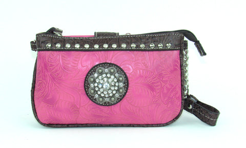 Savana Hot Pink Faux Leather Ladies Hot Pink Clutch Medallion Tooled
