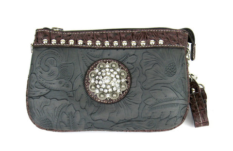 Savana Pewter Faux Leather Ladies Pewter Clutch Medallion Tooled