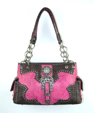 Savana Hot Pink Faux Leather Ladies Hot Pink Purse Large Tooled Concho