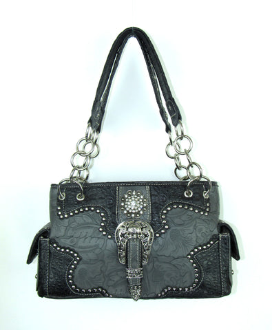 Savana Pewter Faux Leather Ladies Pewter Purse Large Tooled Concho