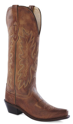 Old West Tan Canyon Womens All Leather Snip Toe 14in Tall Cowboy Boots