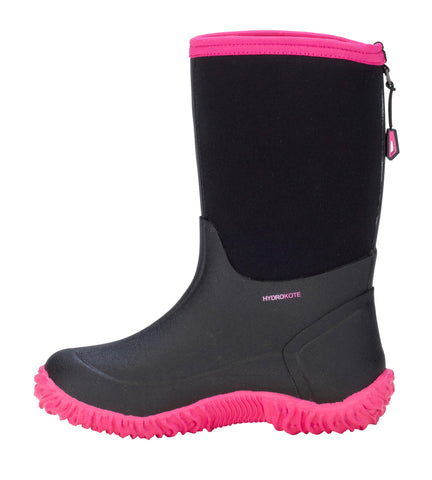Dryshod Girls Tuffy Mid/Hi Kids Foam Black/Pink Farm Boots