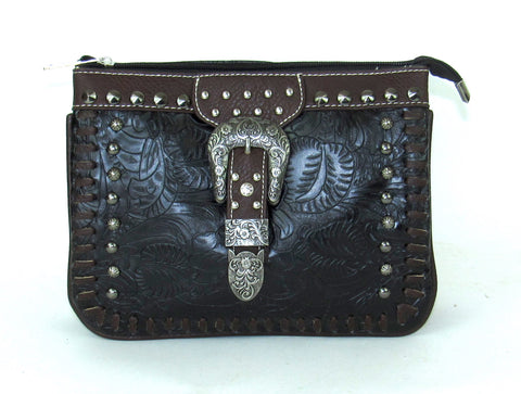 Savana Black Faux Leather Ladies Black Crossbody Organizer Stitch