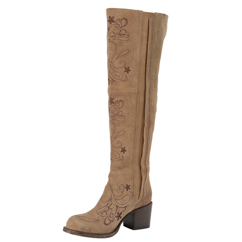 Miss Macie Ladies Tan Leather Uptown Girl Fashion Boots Floral