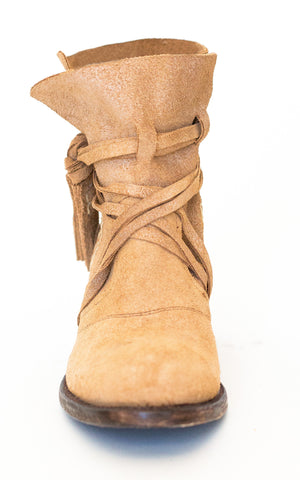 Miss Macie Womens Tan Suede Katie Jo Ties Fashion Boots