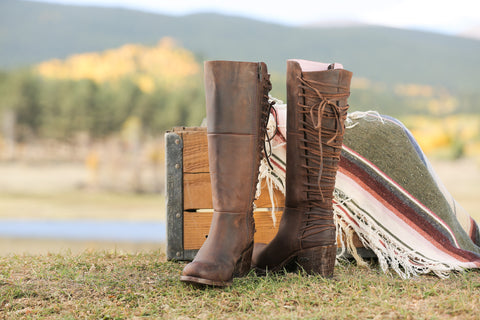 Miss Macie Womens Brown Leather Gypsy Rider Knee Hi Fashion Boots