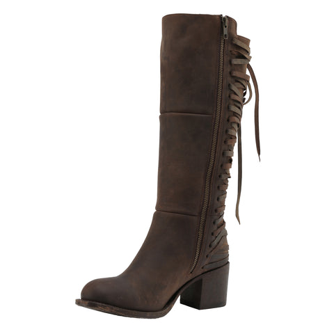 Miss Macie Ladies Brown Leather Gypsy Rider Fashion Boots Laced