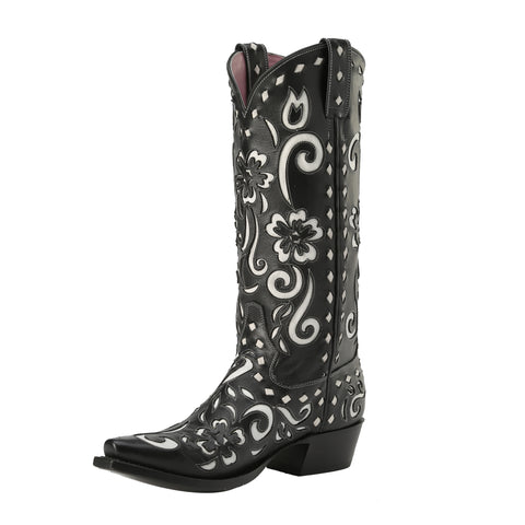 Miss Macie Ladies Black Leather Southern Grace Fashion Boots Floral