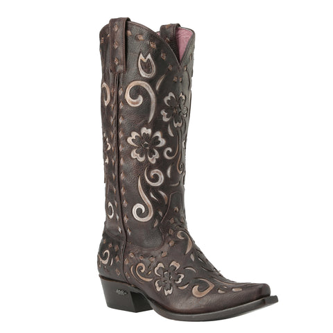 Miss Macie Ladies Brown Leather Southern Grace Fashion Boots Floral