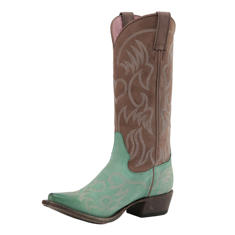 Miss Macie Ladies Turquoise Leather Pure Prairie Fashion Boots