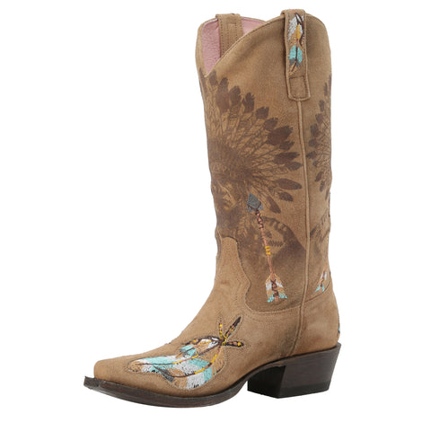 Miss Macie Ladies Tan Leather Shawnee Fashion Boots Headdress