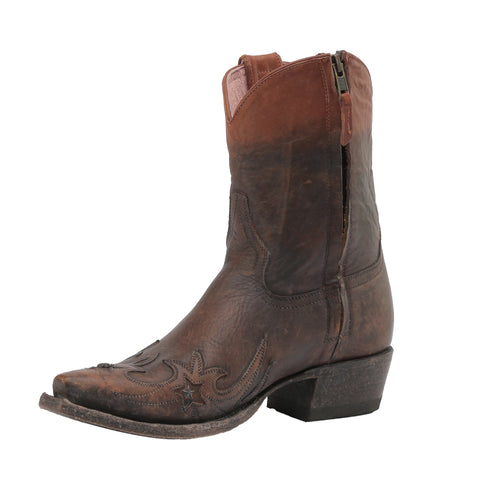 Miss Macie Ladies Brown Leather Weatherford Fashion Boots Overlay