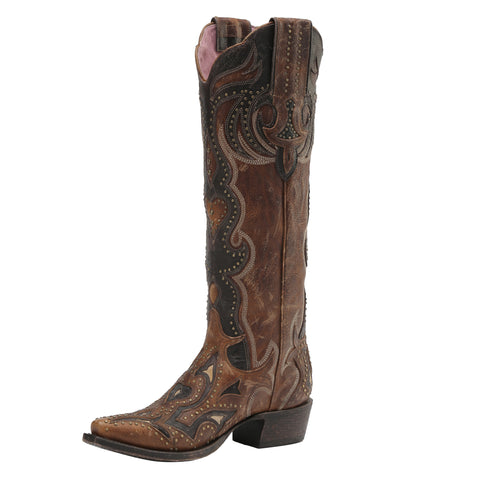 Miss Macie Ladies Brown Leather Martina Fashion Boots Stud Cutout
