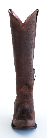 Miss Macie Womens Chocolate Leather Steppin Style Fashion Boots