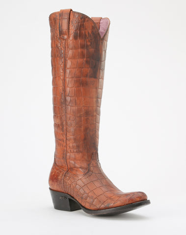 Miss Macie Womens Oiled Brown Leather What A Croc Fashion Boots