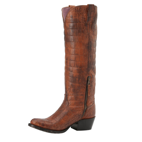 Miss Macie Ladies Brown Leather What A Croc Fashion Boots Western