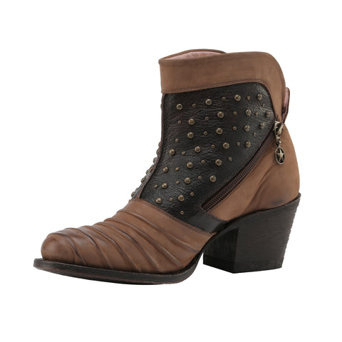 Miss Macie Ladies Brown Leather Piper Fashion Boots Studded Ankle Zip