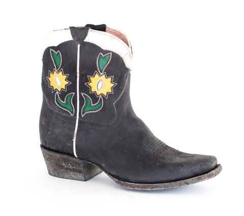 Miss Macie Womens Black Leather Run Ragged Flower Fashion Boots