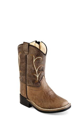 Old West Brown/Tan Toddler Boys Faux Leather Cowboy Boots 4.5D