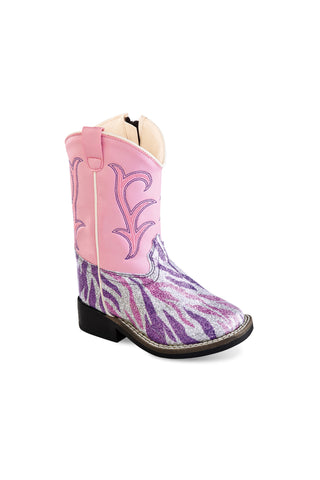 Old West Pink Toddler Girls Faux Leather Glitter Cowboy Boots Boots