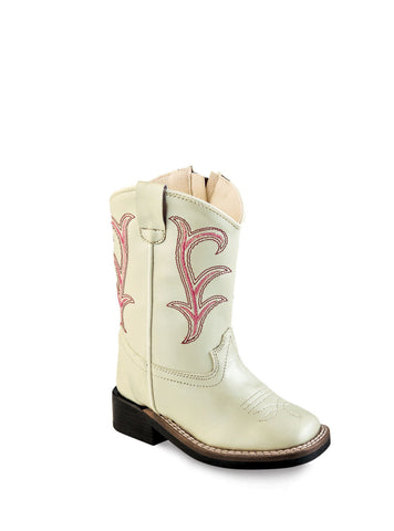 Old West Cream Toddler Girls Stitch Faux Leather Cowboy Western Boots