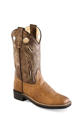 Old West Tan/Brown Kids Boys Faux Leather Cowboy Boots