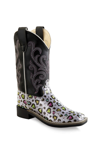 Old West Black Children Girls Heart Leopard Cowboy Western Boots